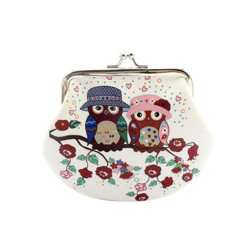 Womens Girls Coin Bags Purse Women Lady Retro Vintage Owl Small Wallet Hasp Purse Clutch Bag Female Cartoon Coin Clutch A8