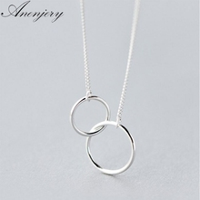 Anenjery Double Circle Interlock Clavicle Short Necklace 925 Sterling Silver Necklace For Women collares erkek kolye S-N191 cheap Chains Necklaces Third Party Appraisal Zircon 925 Sterling Link Chain geometric TRENDY AS PICTURE More than 10 dollars Allergy free Lead Nickel Cadmium free
