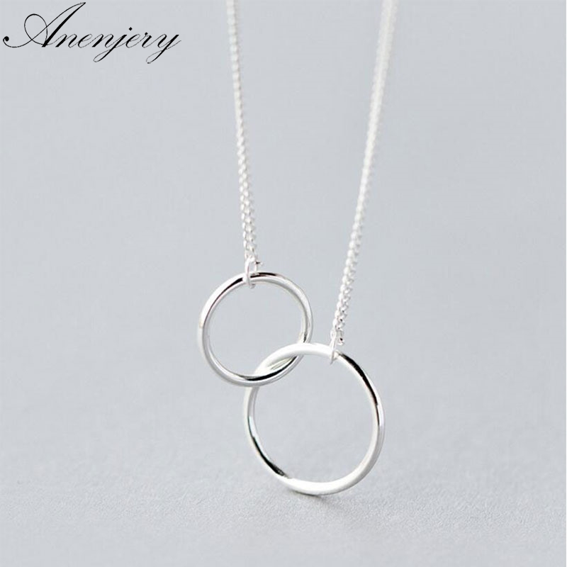 Anenjery Double Circle Interlock Clavicle Short Necklace Silver Color Necklace For Women collares erkek kolye S N191
