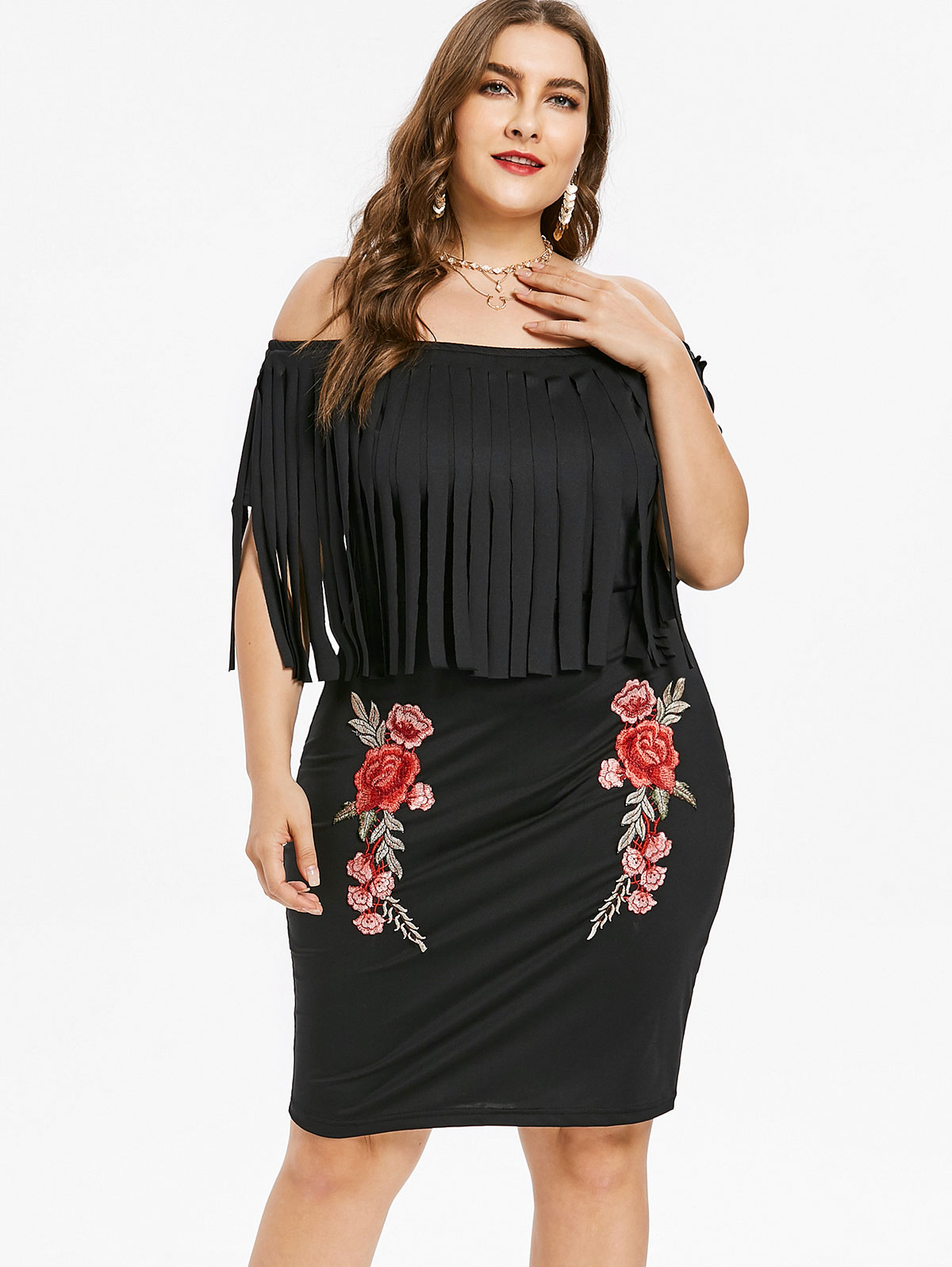86d869cb816 4XL Plus Size Fringed Floral Embroidered Bodycon Dress Knee Length Short  Sleeves Dress Slash Neck Tassel Dress