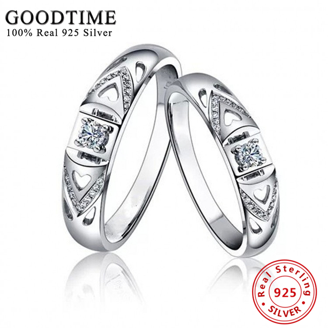 1PCS Sterling Silver Wedding Rings Fine Jewelry 925 Sterling Silver Ring Inlay CZ Diamond Finger Rings for Women Jewelry GTR034