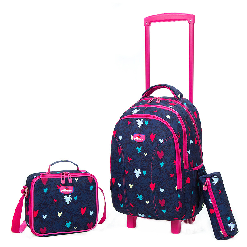 Sac à dos roulant d'école sac à dos de filles sur roues sac à dos à roulettes d'école de fille sac à dos à roulettes de voyage d'enfant