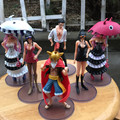 Historieta del anime de One Piece Figuras Luffy Robin Perona Mihawk Dracule PVC Figuras de Acción Juguetes 6 unids/set H26