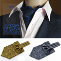 Alta Qualidade Dos Homens Do Vintage Casamento Formal Gravata Ascot Triturar Auto estilo Britânico Cavalheiro Lenços de Seda Padrão cachecol cravate