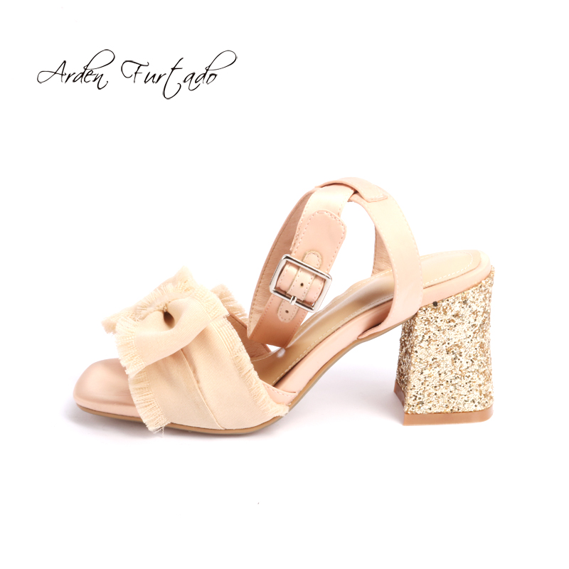 b54ceabf3f715 Arden for summer heels fashion bling bling heels butterfly 2018 woman  ladies chunky heels square knot ...