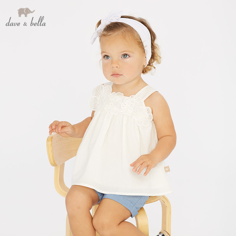 DB10207 Dave bella summer baby girl clothing sets cute floral children suits infant high quality clothes