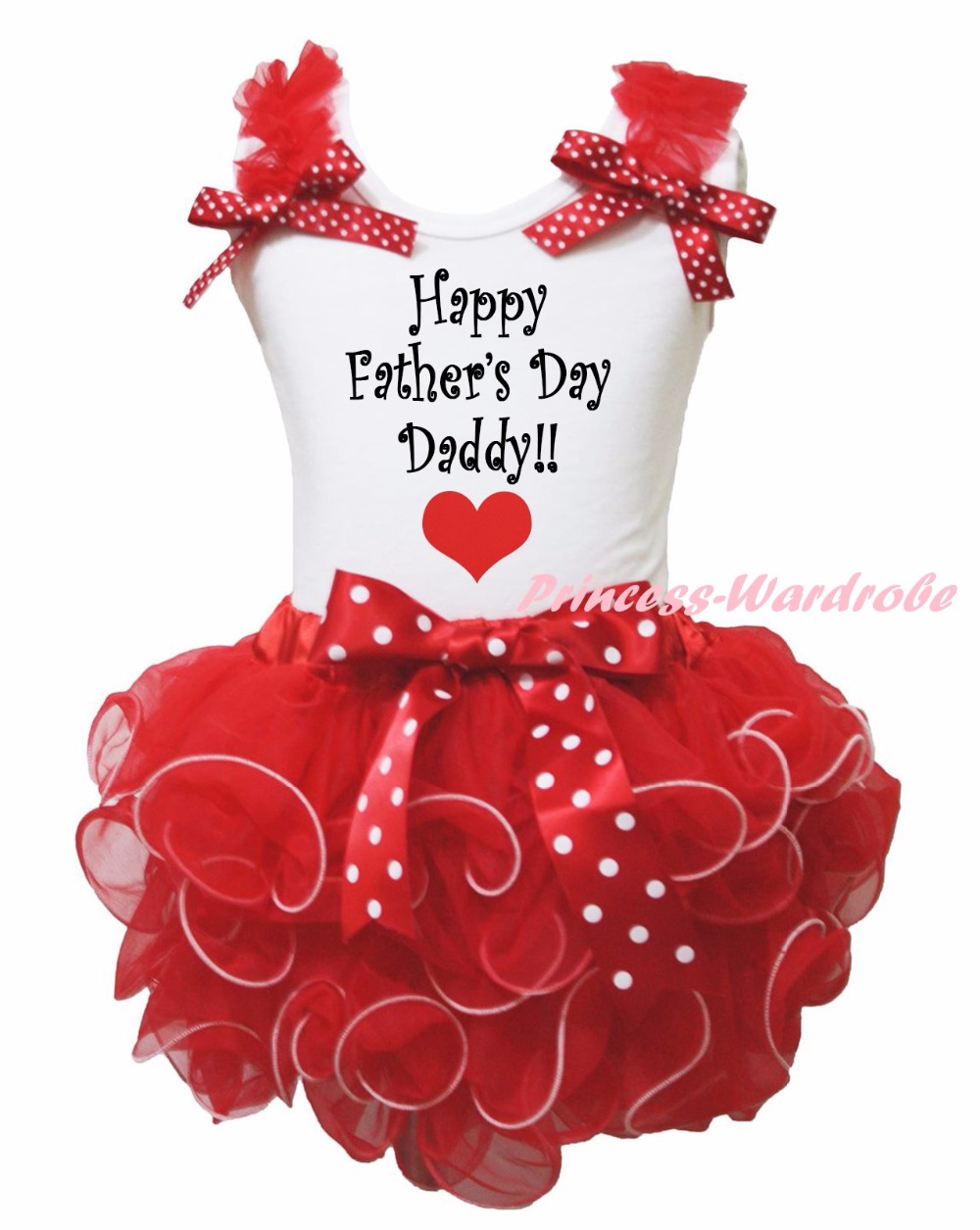 Happy Father's I love Day Daddy White Shirt Red Ribbon Petal Baby GirlSkirt Set Nb-8y LKPO0034 white cotton shirt white blue red star petal skirt girl outfit set dress my 1st 6th 4th of july costume nb 8y lkpo0037