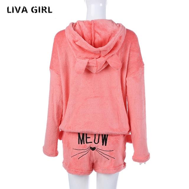 liva girl Women Pajama Sets 2018 Autumn winter Flannel Cartoon Warm Pyjamas Women Homewear Animal Sleepwear Cat female pajama 5