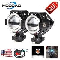 2PCS 125W Motorcycle Headlight 3600LM Motorbike spotlight U5 U7 LED Moto Driving car Fog Spot Head Light Lamp DRL