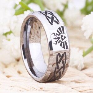 Image 3 - Ring Wemen männer Klassische Jäten Ring Für Männer 8MM Legende von Zelda & Wolf Silber Bevel Mode Wolfram engagement Silber Ring
