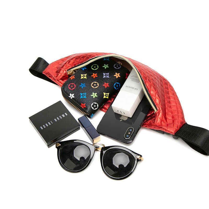 女性尻調節可能なベルトバッグファニーパックポーチ旅行ヒップ財布ウエスト祭マネーベルトの革のホリデー財布ブラックゴールド
