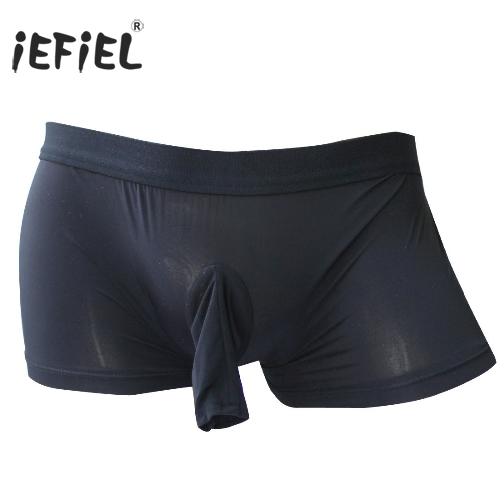 Buy iEFiEL Mens Open Pouch Sissy Penis Wetlook Sexy Panties Men Sheath Bulge Boxer Shorts Jockstraps Gay Underwear Underpants