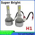 Hot New 2X55 W 9200LM Fichas COB Car Led Farol Conversão Kit Auto Front Light H1 Para Substituir Halogênio/HID Lâmpadas Super brilhante