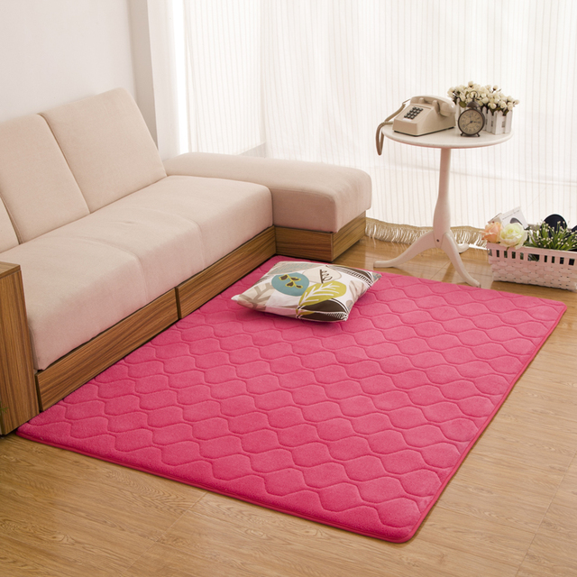 140X200CM Grid Coral Velvet Carpets For Living Room Bedroom Soft ...
