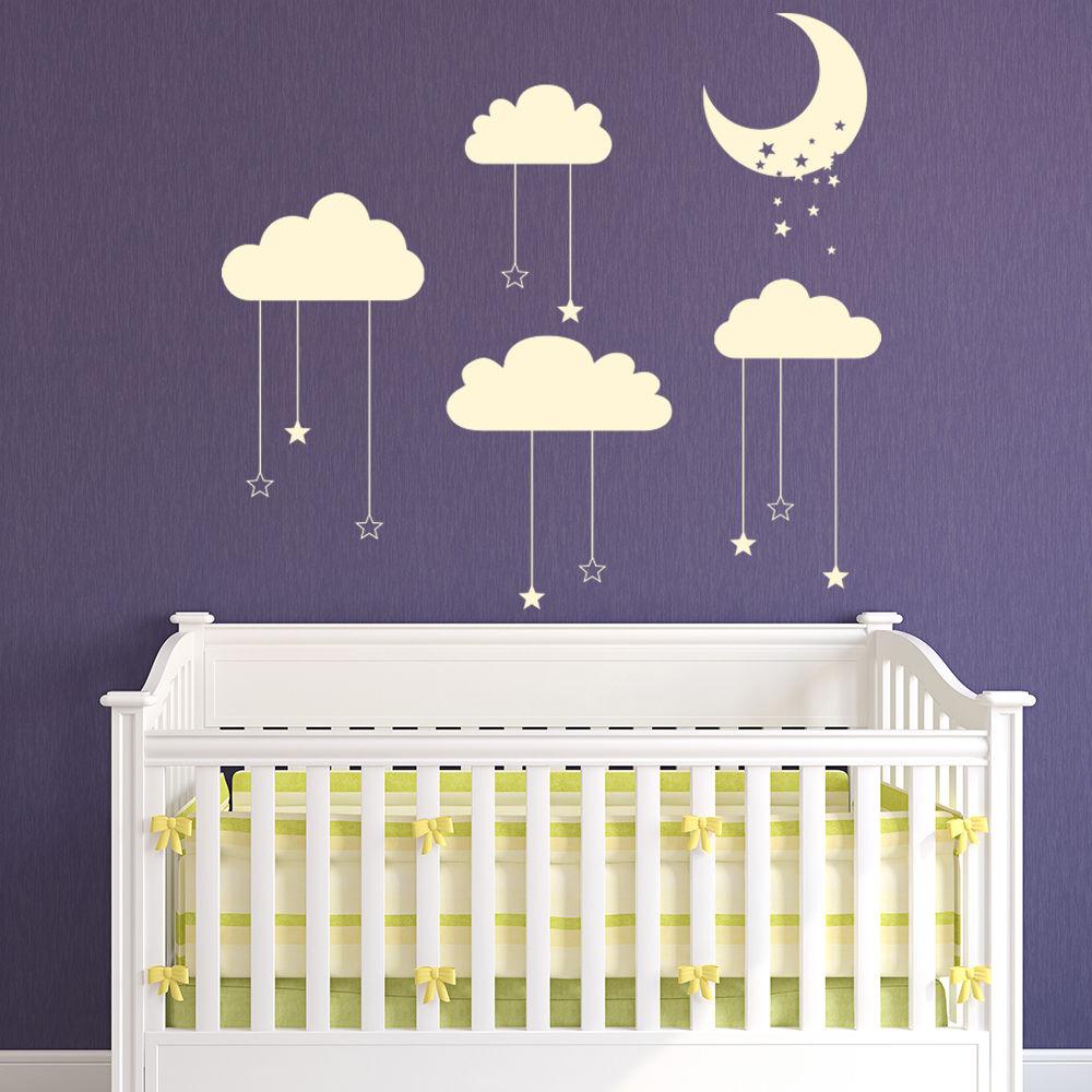 € 7.25 26% de réduction|Étoile lune lit bébé Mobile Stickers muraux non  toxique PVC papier peint nuage mur décalcomanie bébé pépinière décor vente  ...