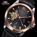 2017 TEVISE Skeleton Tourbillon Mechanical Watch Automatic Men Classic Rose Gold Leather Mechanical Wrist Watches Reloj Hombre