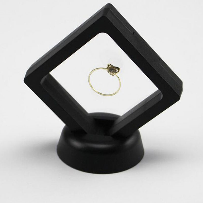 7*7cm Black White Suspended Floating Display Presentation Case Jewelery Earrings Pendant Stand Display Box Rings Holder ZA3361