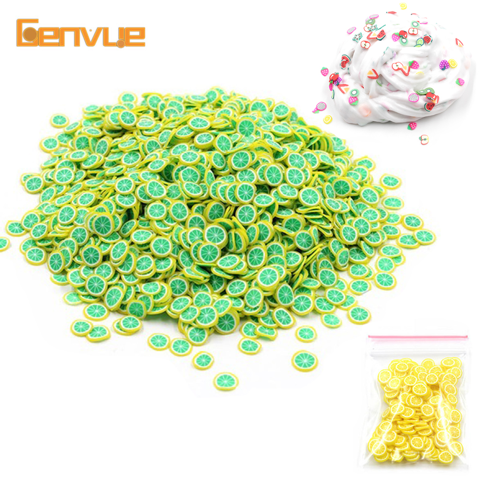 200Pcs Addition For Fimo Soft Fruit Beads Slices Filler For Slime Charms DIY Beauty Nail Mobile Powder Slime Sprinkles Supplies