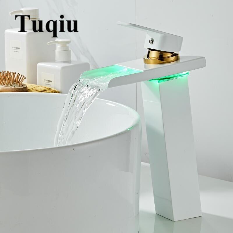 Robinet à LED contrôle de température LED robinet de lavabo LED grue robinet d'eau blanc et or salle de bain cascade robinet robinets de salle de bain