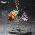 2016 Fashion Quartz Chips Pendant Necklace Rainbow 7 Chakra Amethyst Tree Of Life Multicolor WisdomTree Natural Stone Necklace