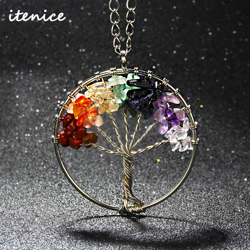 2016 Fashion Quartz Chips Pendant Necklace Rainbow 7 Chakra Tree Of Life Multicolor WisdomTree Natural Stone Necklace