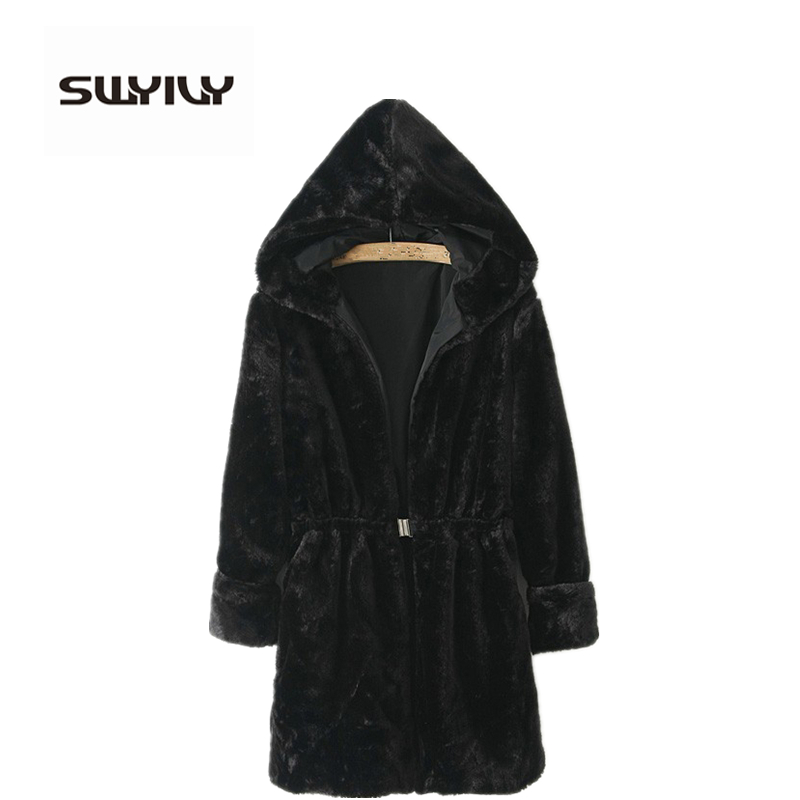SWYIVY Women Fur Coat Jacket Hooded European Style 2018n New Winter Imitation Mink Fur Coat Long Fashion Belts Woman Fur Outwear