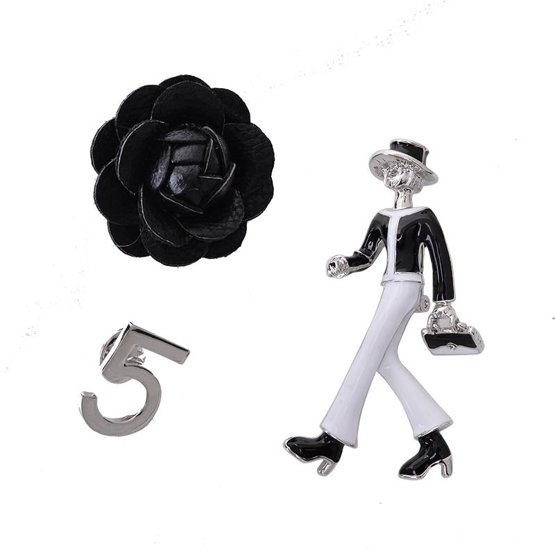 Sada 3 CC č. 5 simulované smalt CC lady kamélie květ brož brož klopě pin šperky šperky dárek