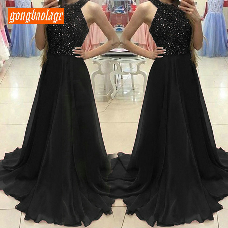 Fashion Black Women   Evening     Dress   2019   Evening   Party Gown Halter-neck Sequined Chiffon Sleeveless Backless A-Line Prom   Dresses