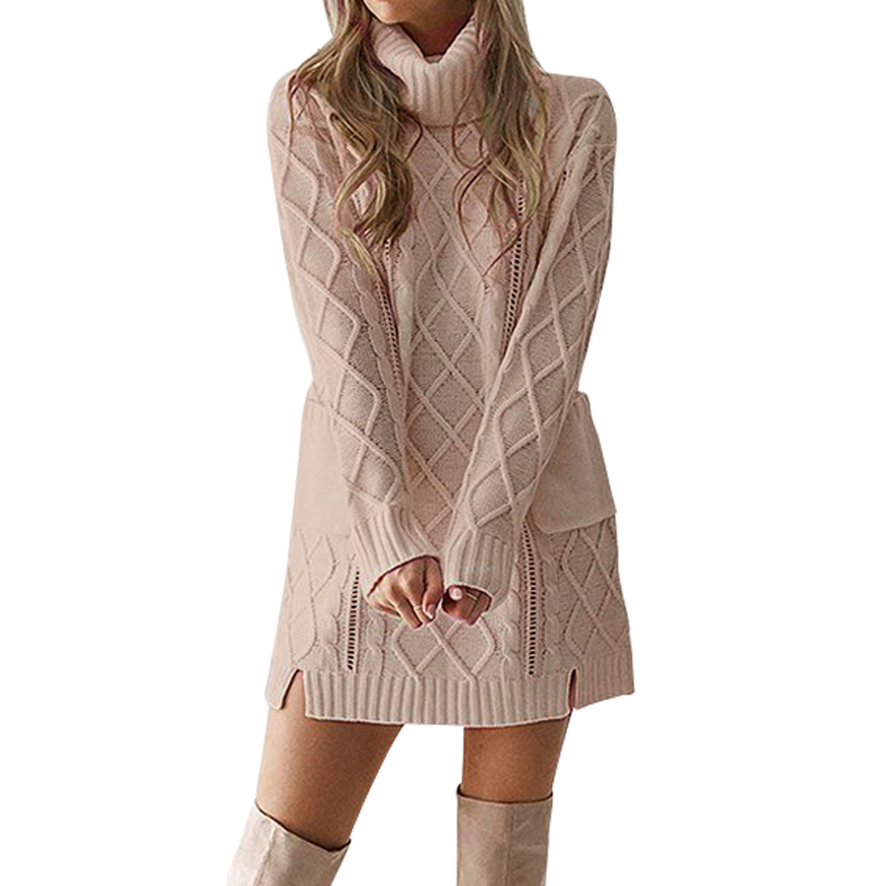 Women Dress Vintage Women Winter Sweater Knit Turtleneck Warm Long Sleeve Pocket Sexy Mini Casual Dress