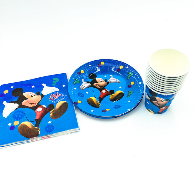 60pcslot Mickey Plates Cups Kids Birthday Party Supplies Baby