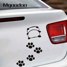 Car Styling Funny Panda Back Footprint Decals for Sticker DIY Stickers On Cars Motocycle Door Window Mirror Accessories