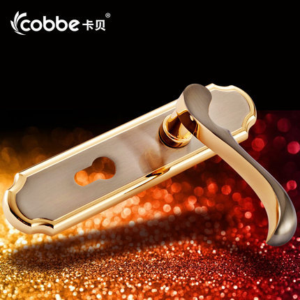 satin brush gold face solid T handle lock indoor mute bearing strong wooden door gate versatile lock copper core & key