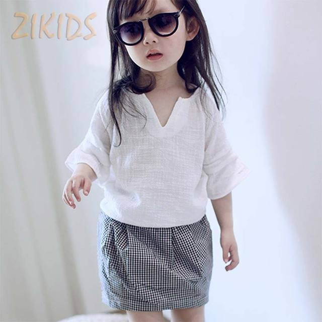 dffa814a0d7 Girls Clothing Sets Summer Temperament Small V-collar Short-sleeved T-shirt  + Plaid Skirt Two-piece Kids Children Clothing Suits