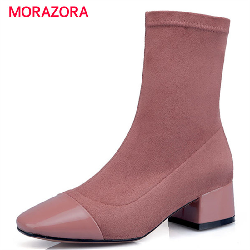 MORAZORA big size autumn winter med heel ankle boots for women stretch fabric+genuine leather boots zipper square heel boots 2015 autumn shiny piece fight color stretch fabric square head women s boots flat boots in europe and america tide personality
