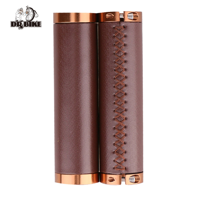 DrBike Lock On Grips ,Retro Soft PU Leather Bicycle Handlebar Cover,Handlebar Grips for MTB Mountain Folding City Bike