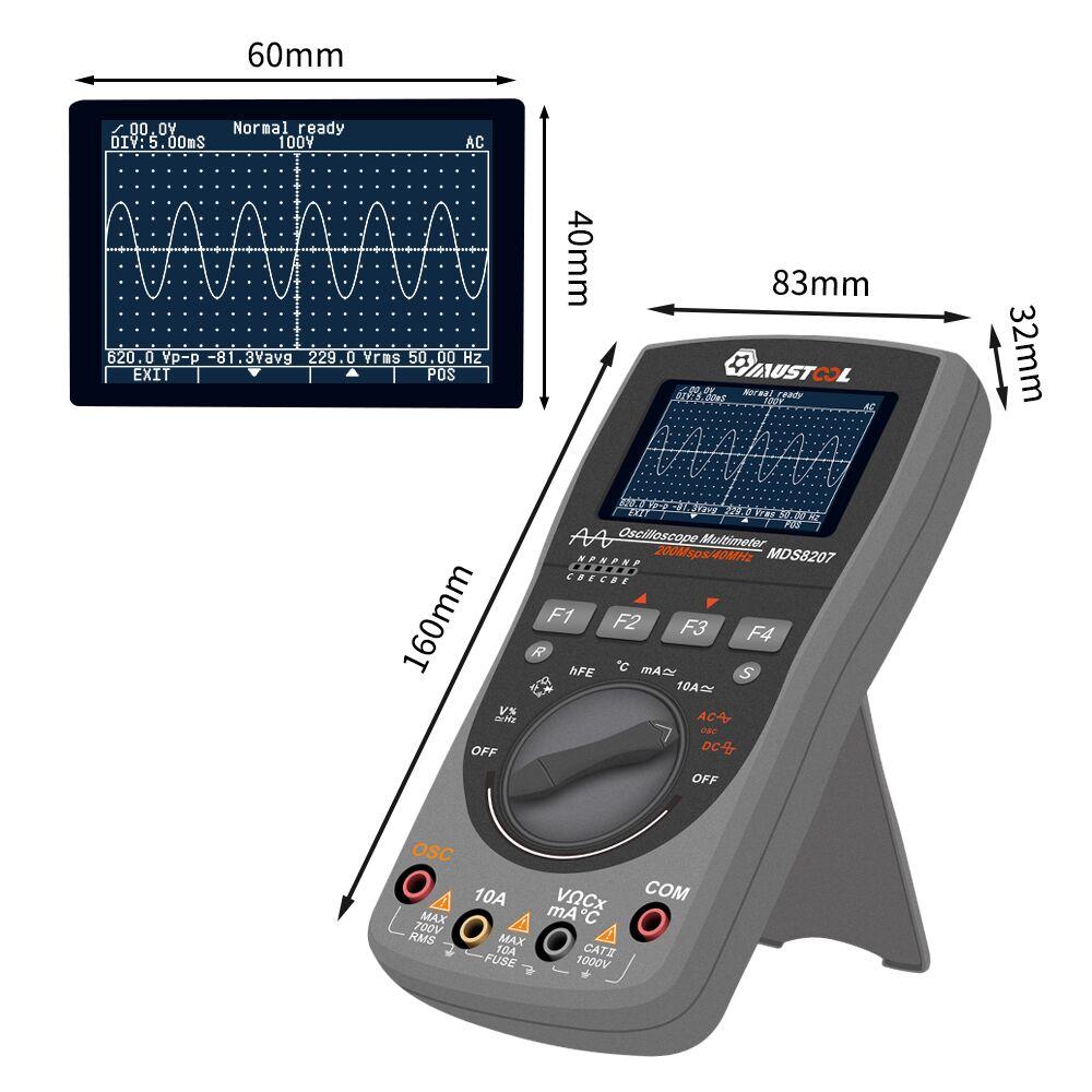 Multímetro de osciloscopio MUSTOOL MDS8207 inteligente 2in1 Digital 40MHz 200 Msps/S 6000 cuenta prueba de osciloscopio verdadero RMS - 5