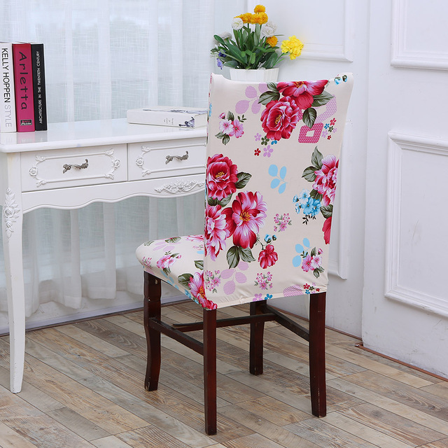Zhuimenglong Pink Flowers Printed Chair Covers For Weddings Cotton Linen Removable Stretch Elastic Seat Cover Home