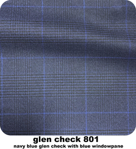 Image 4 - Costume Glen Check pour homme bleu marine, costume deux pièces à carreaux, sur mesure, avec fenêtre