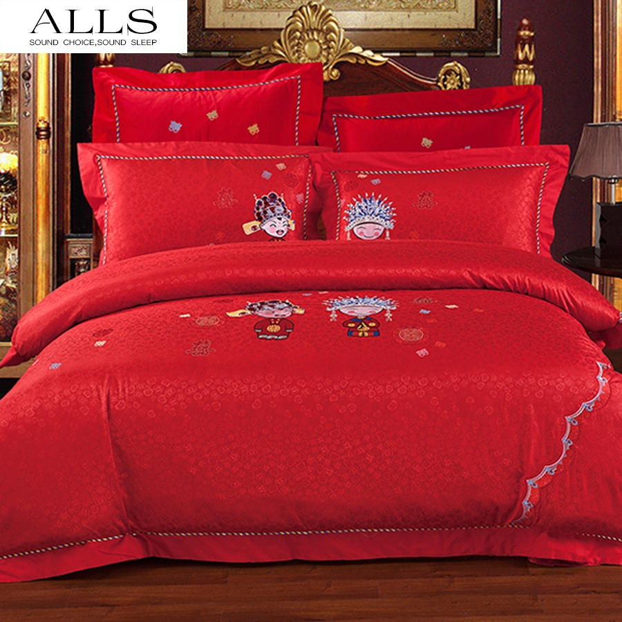 Bed sheets for wedding - Traditional Chinese Wedding Bed Set Luxury Bedding Set Red Jacquard Satin Bedding Set Double Bedclothes Cotton