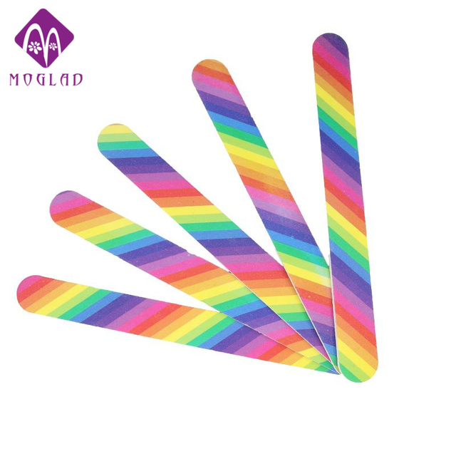 Moglad 5pcs/lot rainbow nail file 100/180 sanding long straight 2 ...