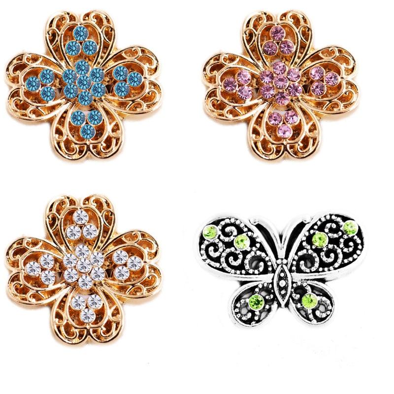 Rivca кнопки изделия самое новое прибытие DIY 18 мм Mixcolour цветок кнопки шарма Кожаные браслеты для Для женщин d00098
