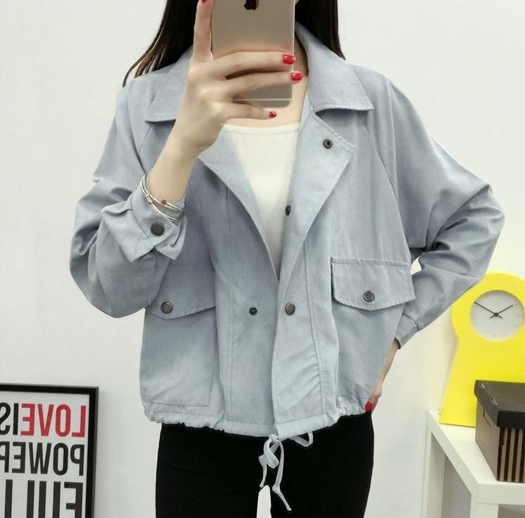 2020 Spring Autumn New Women Jacket Loose Pocket Casual Cropped Tops Solid Jacket Coat Fashion Female Outerwear Ladie HOT Y328