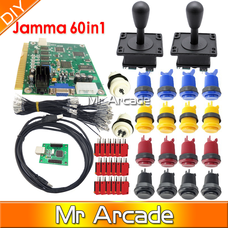 Arcade parts Bundles kit With American Joystick microswitch button 2 players USB to jamma/PC board to DIY Arcade Machine x 360 to arcade machine time board game kit for lcd arcade machine play for time x 360 s usb to jamma joystick and button