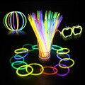 20 Pcs Glow Sticks Pulseiras Colares Partido Fluorescente Neon Cores Wedding Party Xmas decoração Decal