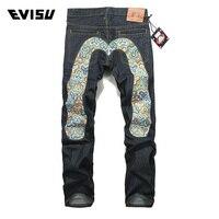 Evisu 2018 New Men Denim Jeans Spring Summer Casual Fashion Long Pants Men's Classic Big M Trousers Geometric Pattern Jeans 6016
