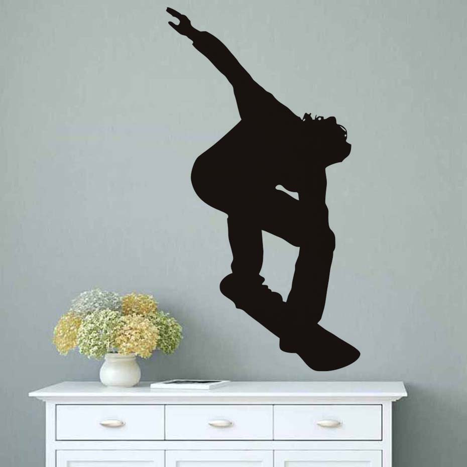 Ice Skating Wall Decal Skate Player Stickers Vinyl Transfer Skateboard Mural Self Adhesive Art Decals For Boy Room Home Dec