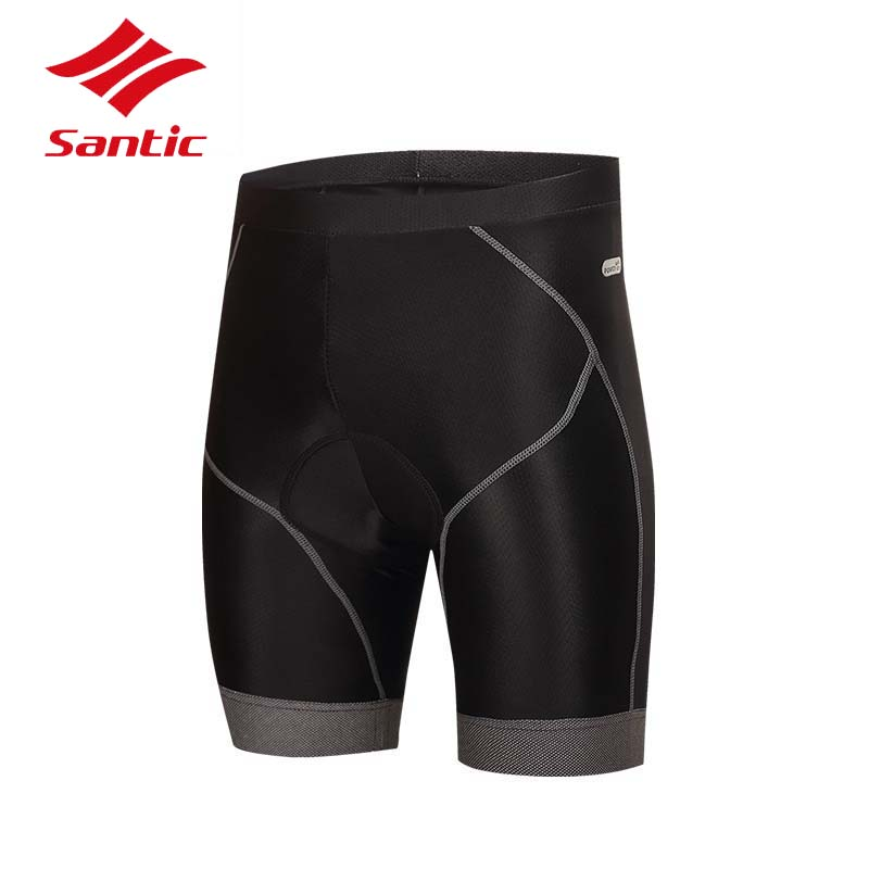 Santic Cycling Shorts Men Pro Gel Padded Road MTB Shorts Downhill Quick Dry Tight Bike Bicycle Shorts Bermuda Ciclismo Black