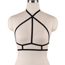 Women Gothic Sexy Elastic Cage Crop Top Bras Erotic Lingerie Strappy Hollow Out Bra Bustier Bandage Black Harness