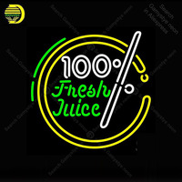 Neon sign For 100 Percent Fresh Juice Neon Bulb sign Business display Iconic Handcraft Lamp advertise Letrero enseigne lumine