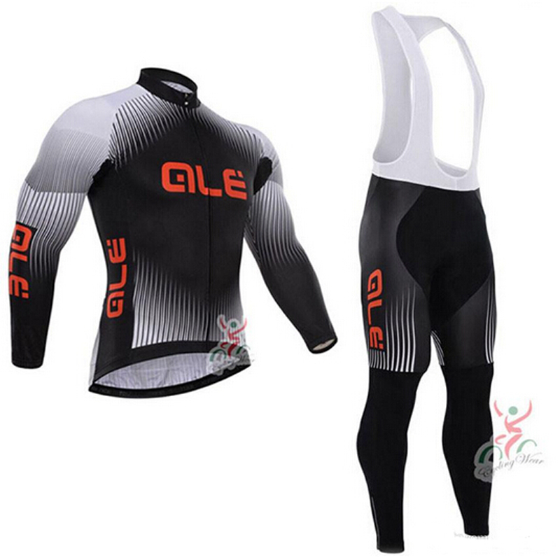 Quick Dry Lightweight Comfortable Men Long Sleeve Jersey + Padded Shorts Cycling Suit Clothing Set ALE Riding Sportswear Black